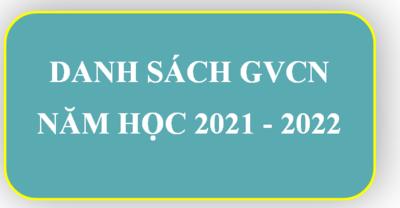 DANH SÁCH GIÁO VIÊN CHỦ NHIỆM NĂM HỌC 2021 - 2022